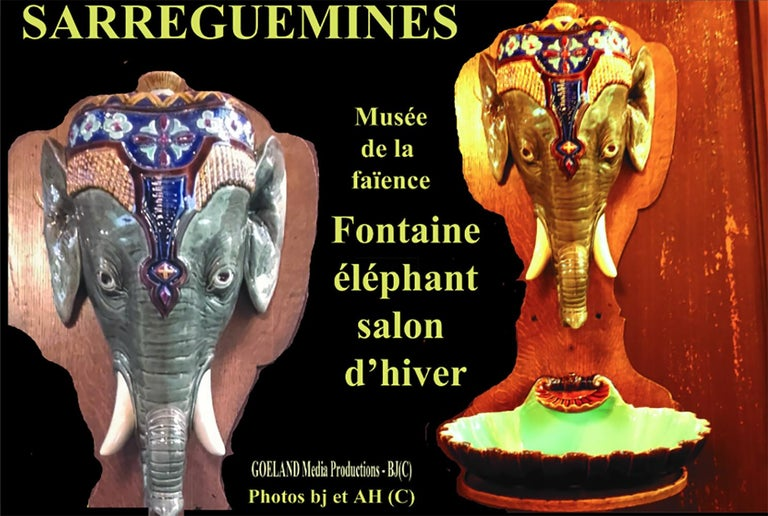 Rare Majolica Elephant Fountain Sarreguemines, circa 1890 For Sale 5