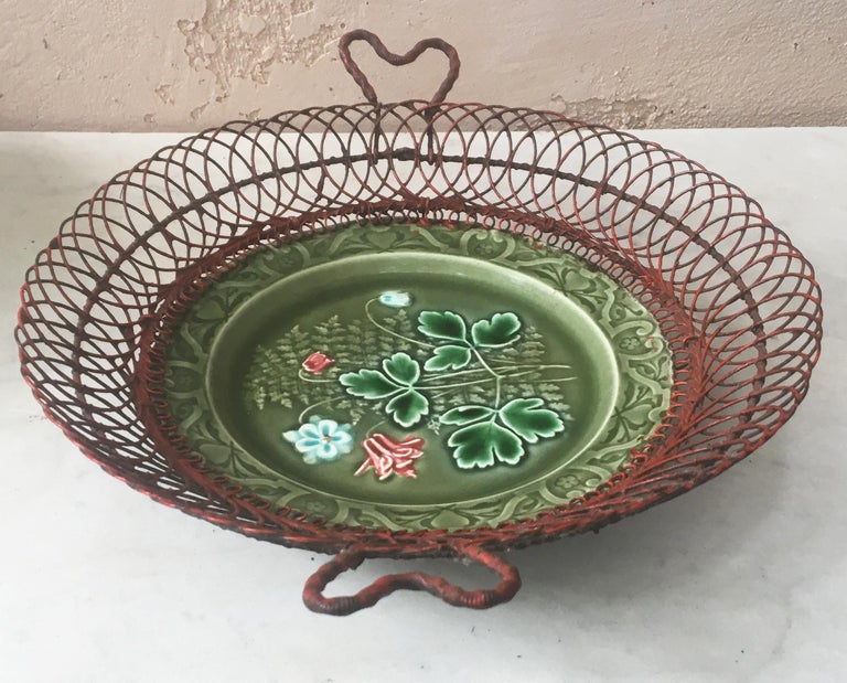 Country German Majolica Wire Red Flowers Basket, circa 1900 For Sale