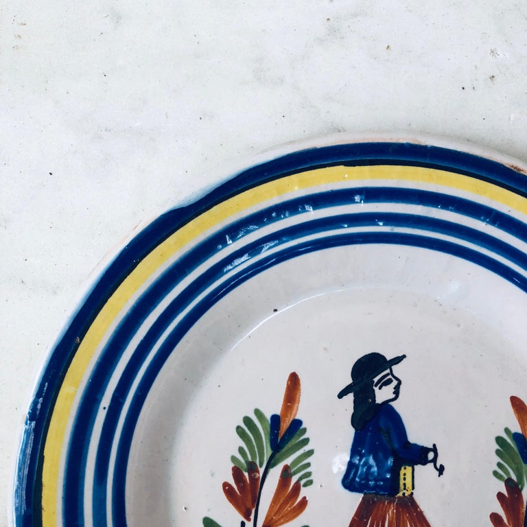 Country French Quimper Plate Henriot Quimper For Sale