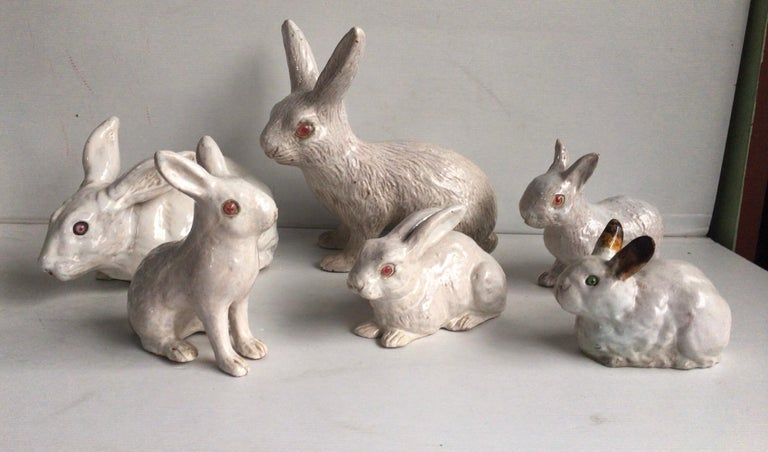 French White Terracotta Majolica Rabbit Bavent, circa 1890 For Sale 5
