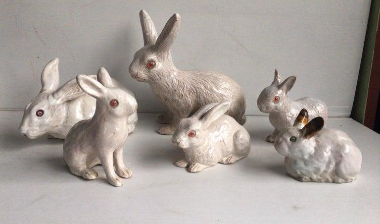 Large French White Terracotta Majolica Rabbit Bavent, circa 1890 For Sale 4
