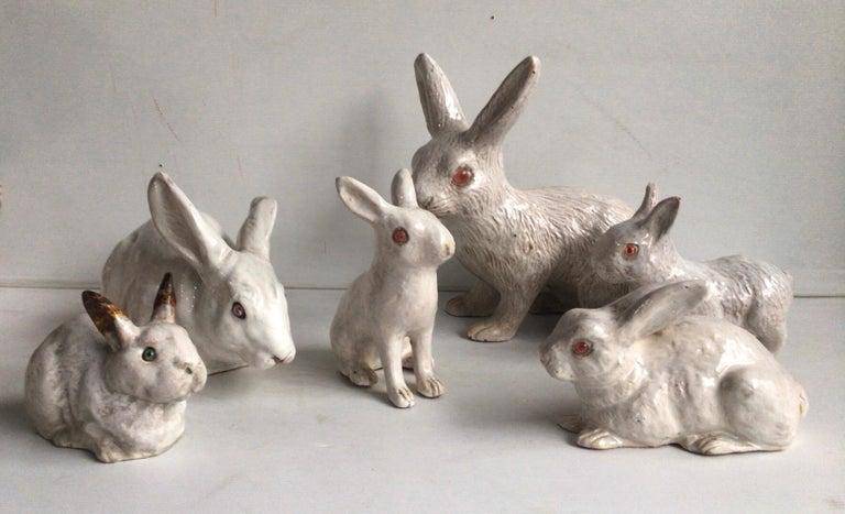 Large French White Terracotta Majolica Rabbit Bavent, circa 1890 For Sale 5
