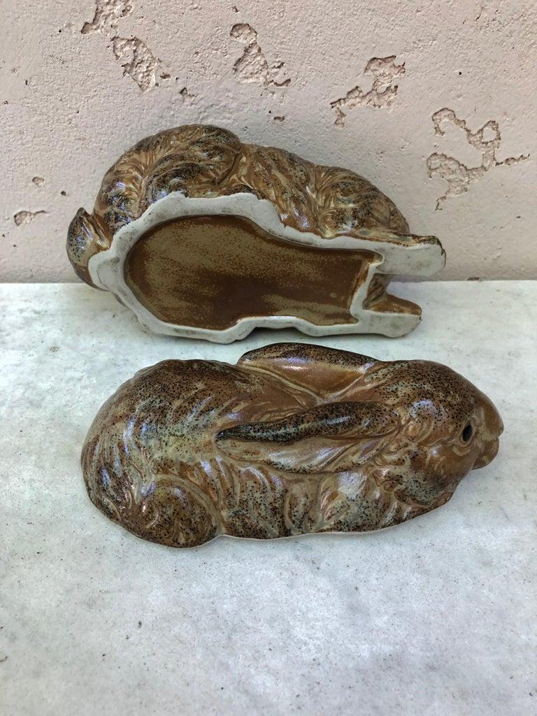 French Pottery Majolica Brown Rabbit Pâté Tureen, circa 1920 For Sale 6