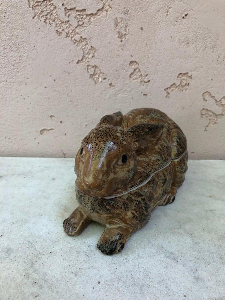 French Pottery Majolica Brown Rabbit Pâté Tureen, circa 1920 For Sale 8