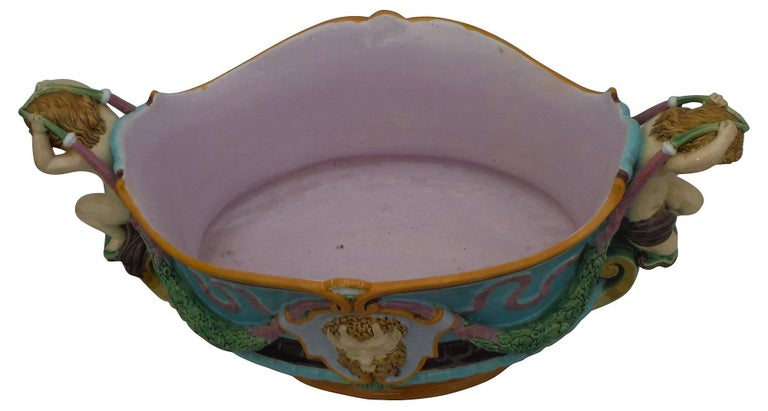 Victorian Turquoise Majolica Jardiniere Renaissance Minton, circa 1876 In Good Condition For Sale In The Hills, TX