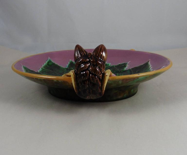 Victorian Majolica Fox Pink Server Dish George Jones, circa 1869 For Sale