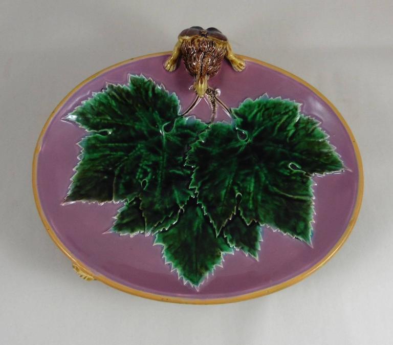 English Majolica Fox Pink Server Dish George Jones, circa 1869 For Sale