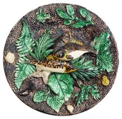 19th Century Majolica Palissy Fish Wall Platter, Francois Maurice