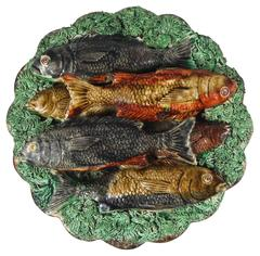 19th Majolica Portuguese Palissy Fishes Wall Platter