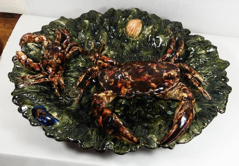 Rustic 19th Century Majolica Palissy Crabs Wall Platter Alfred Renoleau For Sale