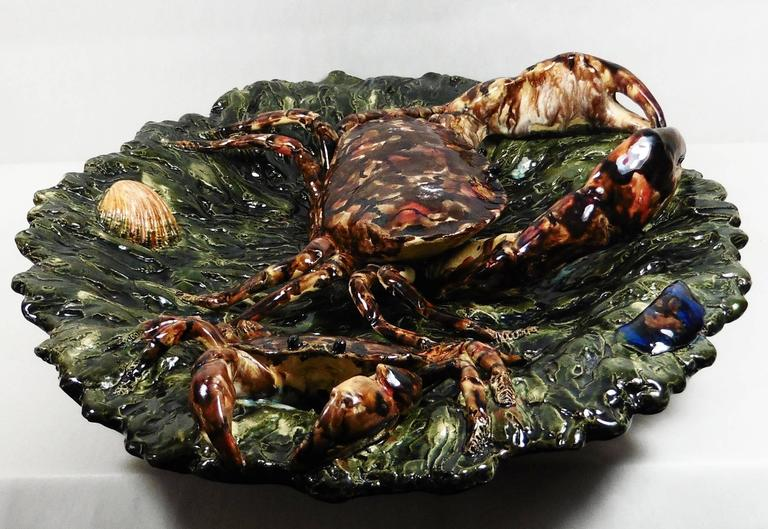 19th Century Majolica Palissy Crabs Wall Platter Alfred Renoleau In Good Condition For Sale In The Hills, TX