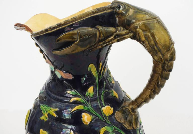 Majolica Pond Life Ewer Wilhelm Schiller & Son, circa 1885 In Good Condition For Sale In The Hills, TX