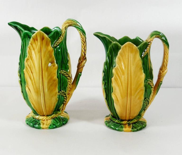 Late 19th Century 19th Century Majolica Minton Wheat and Leaves Pitcher For Sale