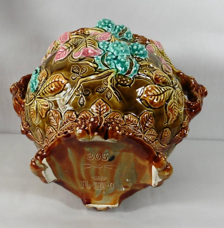 French 19th Majolica Chesnut Jardinière Onnaing For Sale