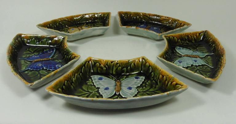 Art Nouveau Set of Five Austrian Majolica Butterflies Dishes, circa 1900 For Sale