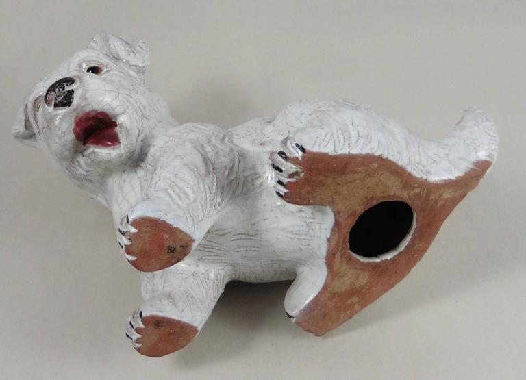 French White Terracotta Dog, circa 1950 In Good Condition For Sale In The Hills, TX