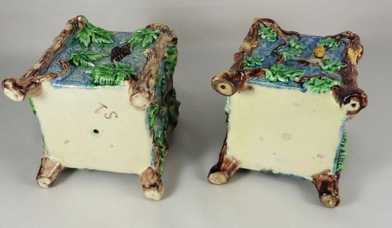 Country Pair of Majolica Palissy Jardinieres Thomas Sergent, circa 1880 For Sale