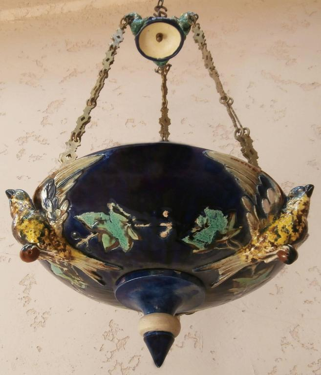 Victorian 19th Century Majolica Parrot Hanging Jardinière For Sale