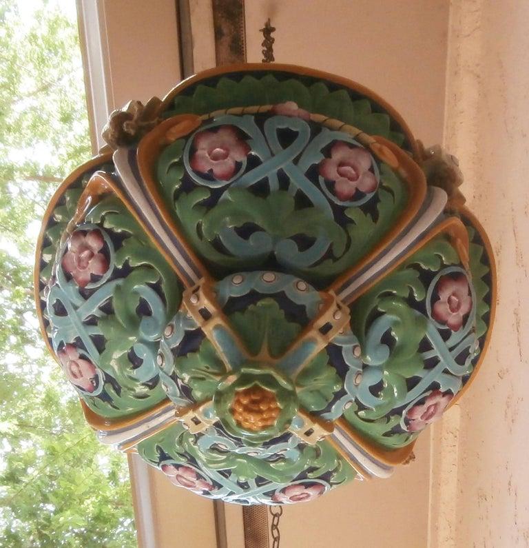 Large Victorian colorful Majolica hanging planter Minton, circa 1860.