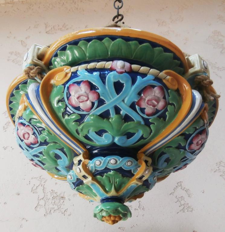 Victorian 19th Majolica Hanging Jardinière Minton For Sale