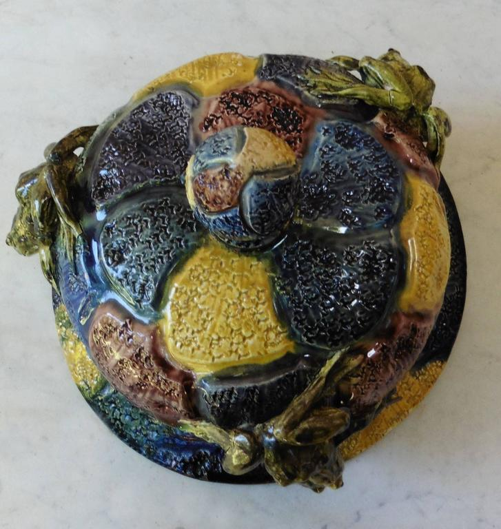 French Majolica Hanging Frogs Planter Thomas Sergent, circa 1880 For Sale