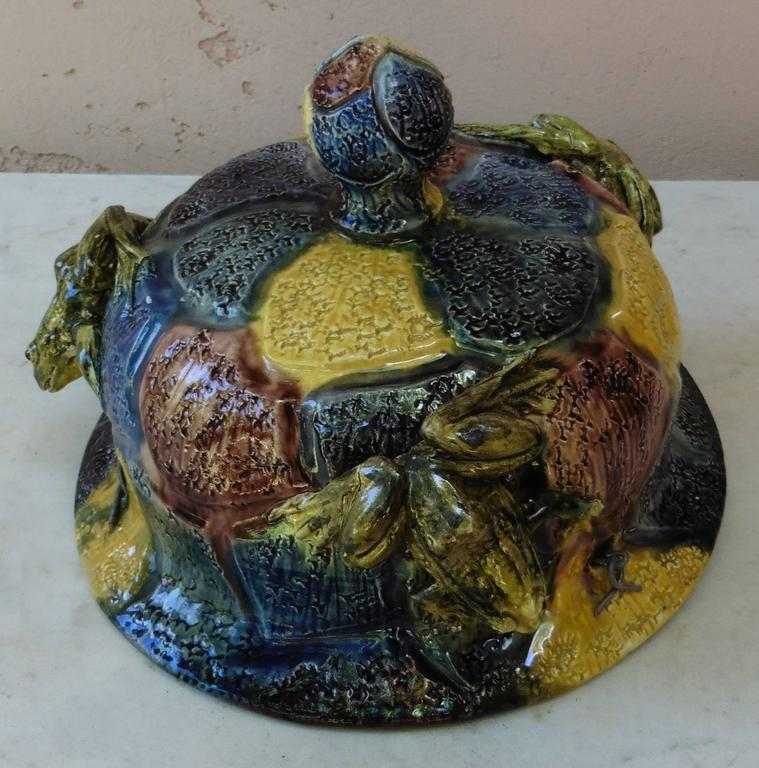 Majolica Hanging Frogs Planter Thomas Sergent, circa 1880 In Good Condition For Sale In The Hills, TX