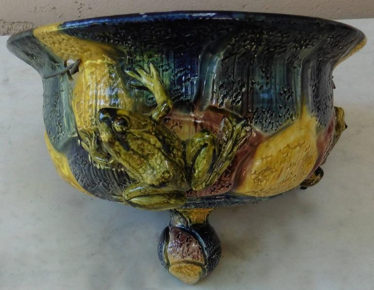 Late 19th Century Majolica Hanging Frogs Planter Thomas Sergent, circa 1880 For Sale