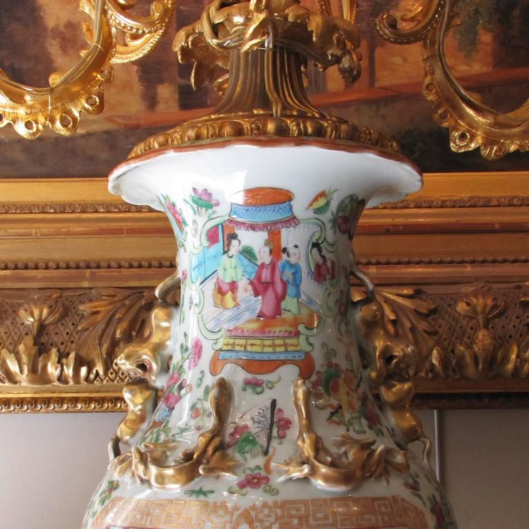 Polychromed 19th Century Chinese Vase Candelabra with French Napoleon III Ormolu Mounts For Sale