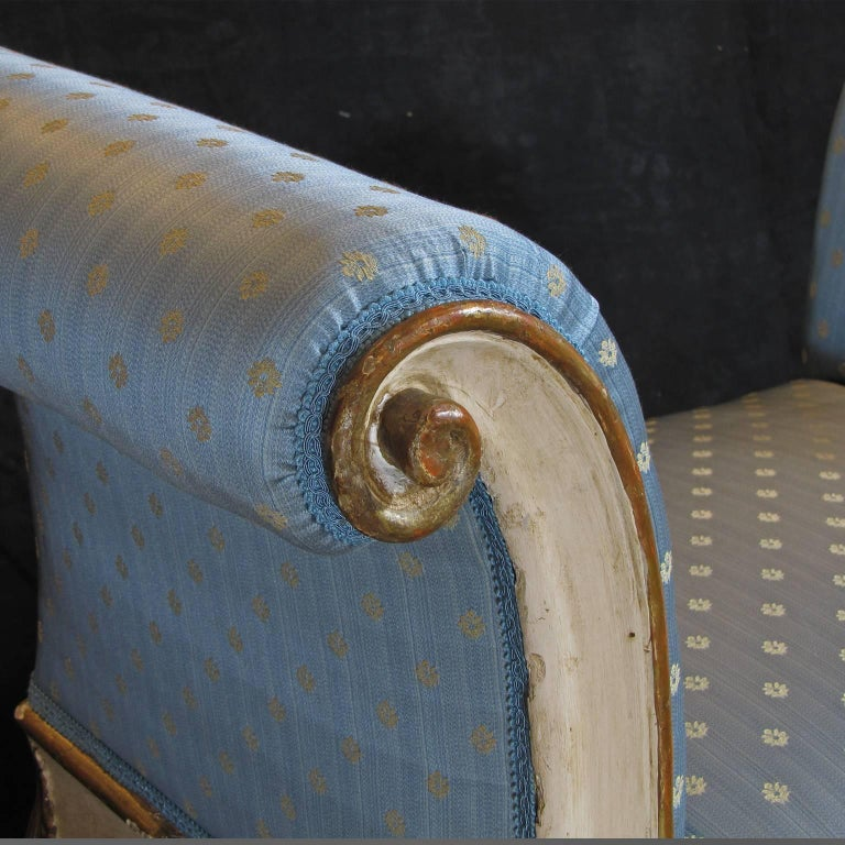 Carved 19th Century Italian White Painted Wood Benches with Light Blue Upholstering For Sale