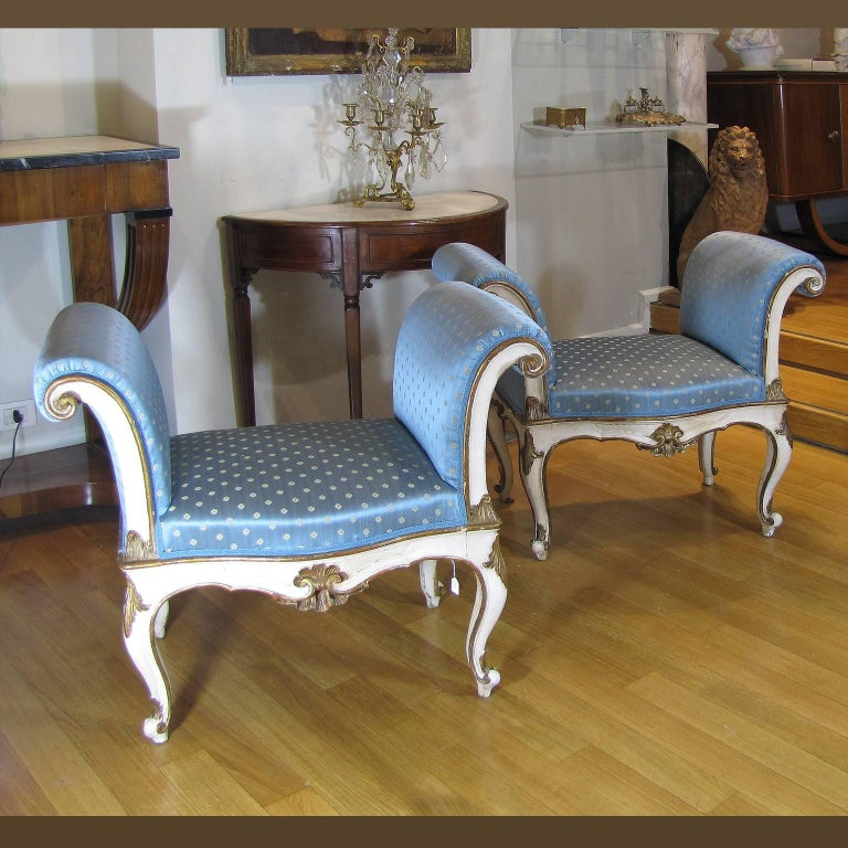 Early 19th Century 19th Century Italian White Painted Wood Benches with Light Blue Upholstering For Sale