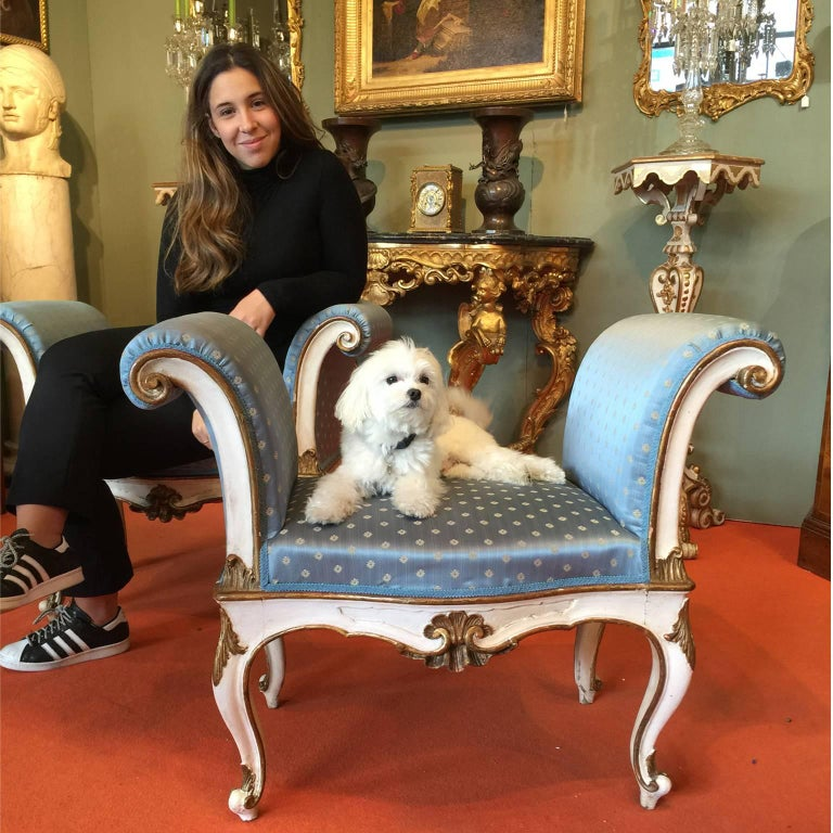 19th Century Italian White Painted Wood Benches with Light Blue Upholstering For Sale 1