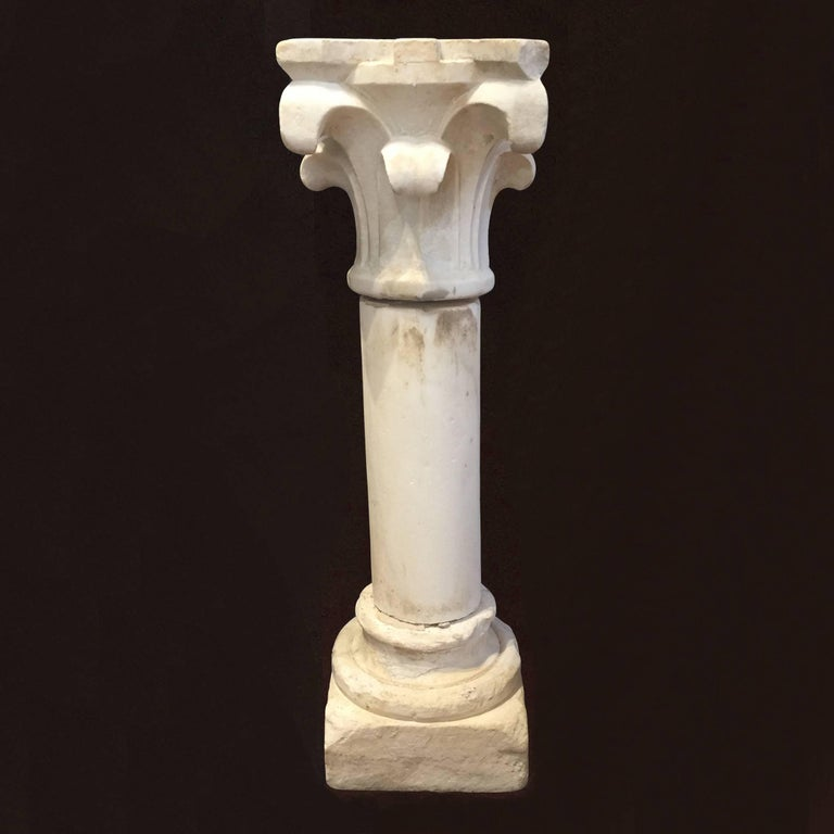 A Charming Three Piece Carved White Marble Column Or Pedestal With Corinthian Capital The