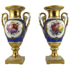 19th Century Pair of Parisian Empire Vases in Gilded and Polychrome Porcelain