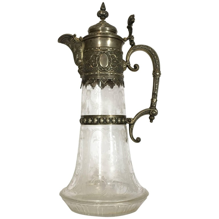Italian Late 19th Century Engraved Glass Decanter or Carafe with Mountings For Sale