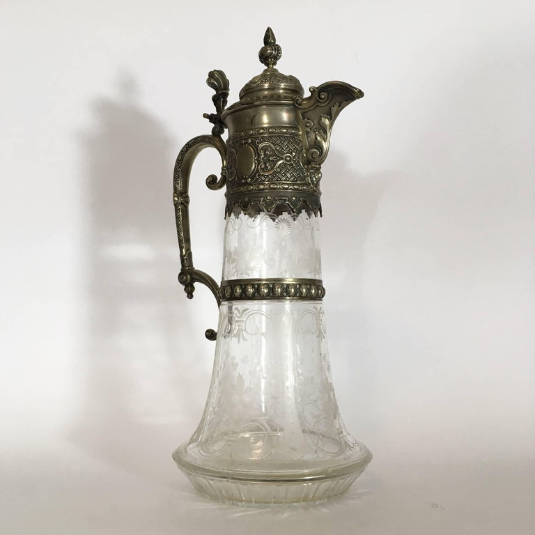 Silvered Italian Late 19th Century Engraved Glass Decanter or Carafe with Mountings For Sale