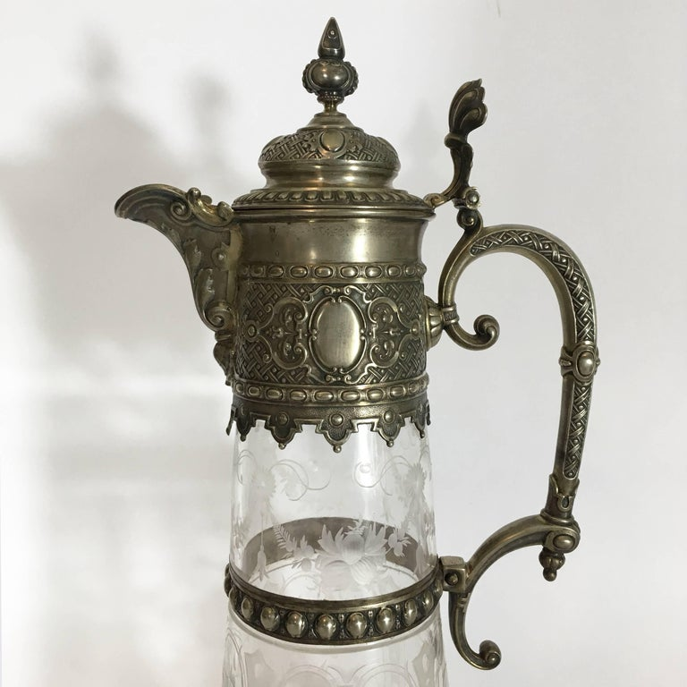 Metal Italian Late 19th Century Engraved Glass Decanter or Carafe with Mountings For Sale