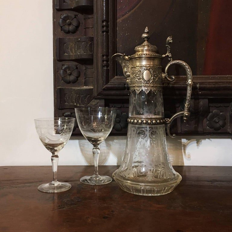 Italian Late 19th Century Engraved Glass Decanter or Carafe with Mountings For Sale 4