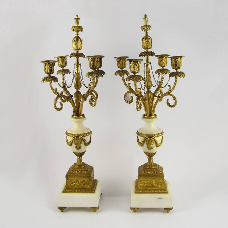 Pair of Italian 18th Century Louis XVI Gilded Bronze on Marble Base  Candelabras