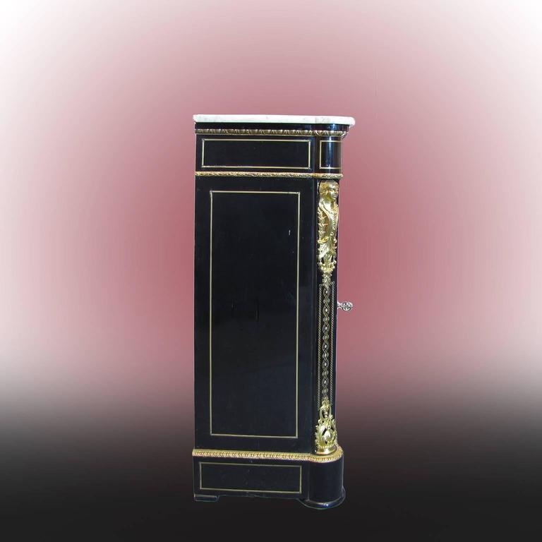Inlay French Mid-19th Century Napoleon III Credenza Gilt Bronze Mounted Ebonized Wood For Sale