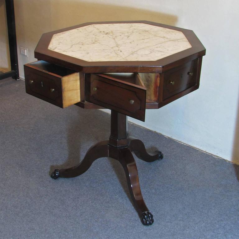 Mid 19th Century Italian Work Table In Solid Mahogany Wood