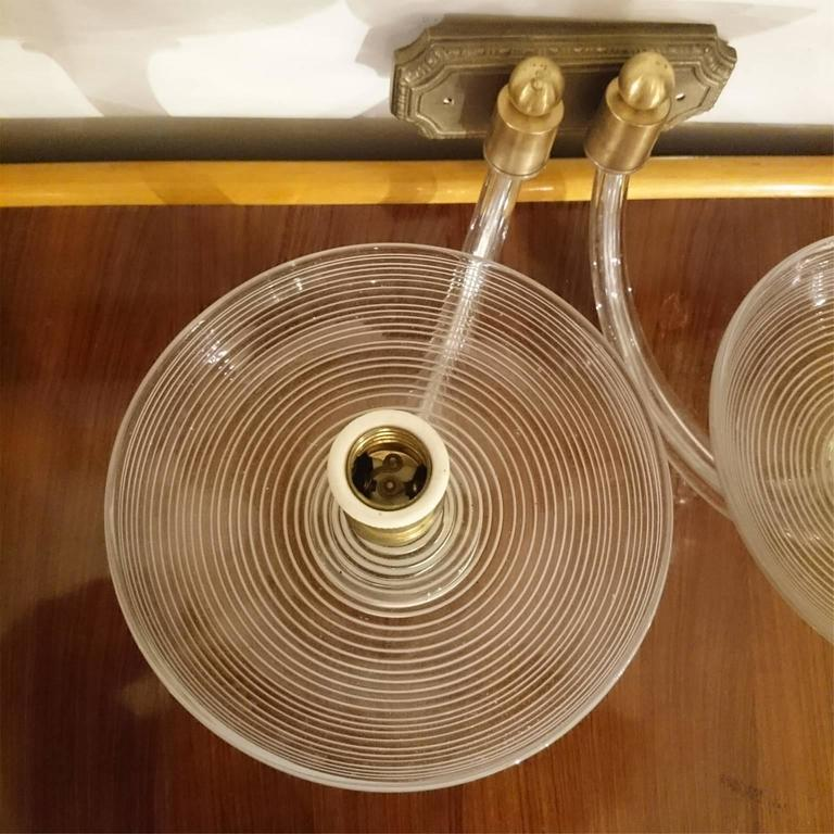 Mid Century Wall Lights Uk: Two Italian Mid-Century Two-Arm Blown Glass And Brass Wall