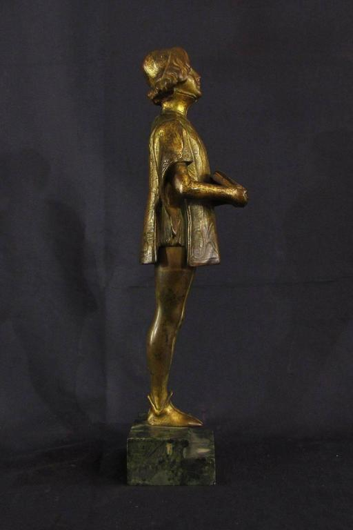 French Early 20th Century Gilded Bronze Sculpture by Ferdinand M. L. Delagrange In Good Condition For Sale In Firenze, IT