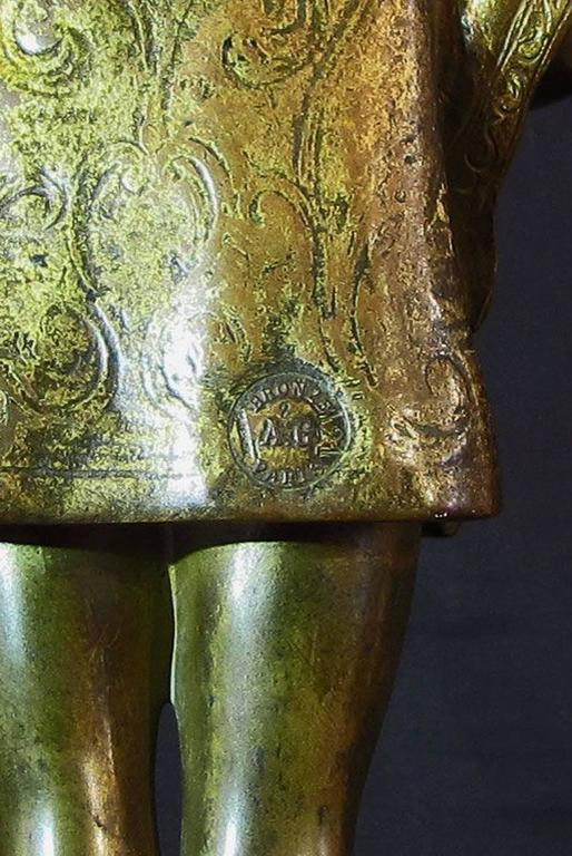 French Early 20th Century Gilded Bronze Sculpture by Ferdinand M. L. Delagrange For Sale 3