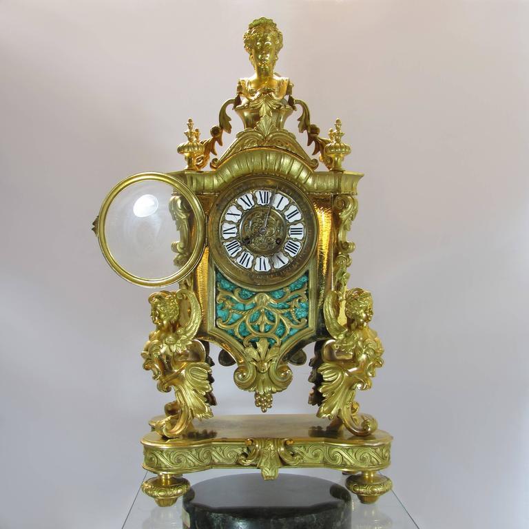 French Mid 19th Century Napoleon Iii Ormolu Pendulum Clock