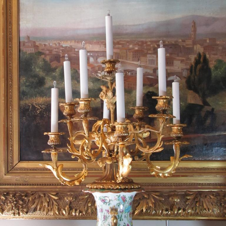 An impressive Chinese Canton vase with French Napoleon III ormolu mounts and a candelabra. The beautiful gilt bronze candelabra on the top of the vase presents nine branches with new European wiring. (Of course, could be converted back if