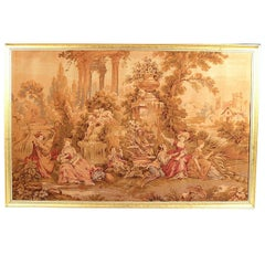 19th Century French Tapestry Garden Scene with Courting Couple