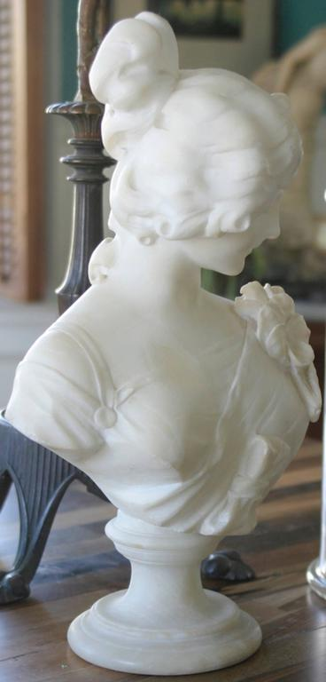 Late 1800s Signed Probably Cipriani Tall Marble Bust