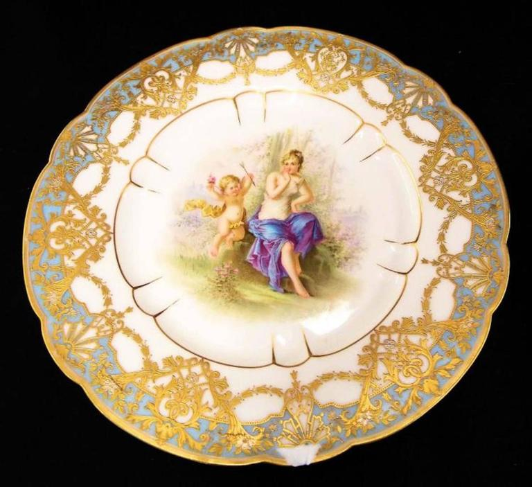 French Late 19th Century Pair of Sevres Plates, Signed For Sale