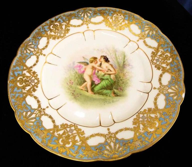 Porcelain Late 19th Century Pair of Sevres Plates, Signed For Sale