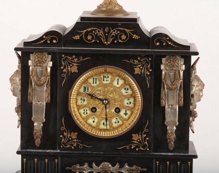 Late 19th Century Black Slate Mantle Clock By Ansonia At
